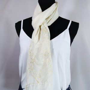 white lightweight sheer scarf with floral details